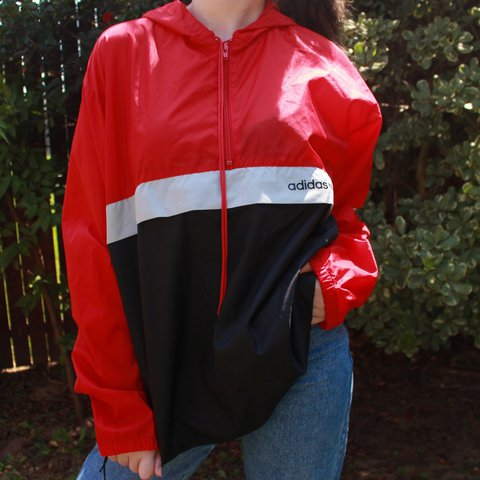 540388aa7 @vintageclover. 2 years ago. Grand Prairie, United States. black, gray, and red  Adidas half zip up windbreaker