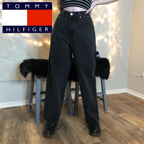 35a066c3 @vintageclover. 4 months ago. Grand Prairie, United States. VINTAGE TOMMY  HILFIGER BLACK CARGO PANTS DOUBLE LOGO SIZE 30 INCH WAIST