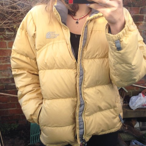 4314d50b95 Yellow the north face nuptse 700 down filled puffa    puffer - Depop