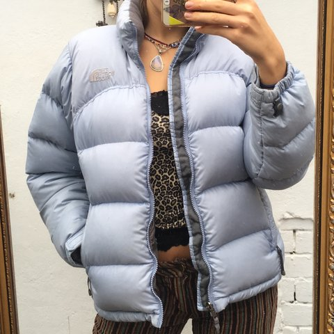 fa596d2546 Icey baby blue north face 700 nuptse down filled puffer size - Depop