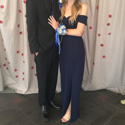 Davids Bridal Dark Blue Off The Shoulder Prom Dress Slit Depop