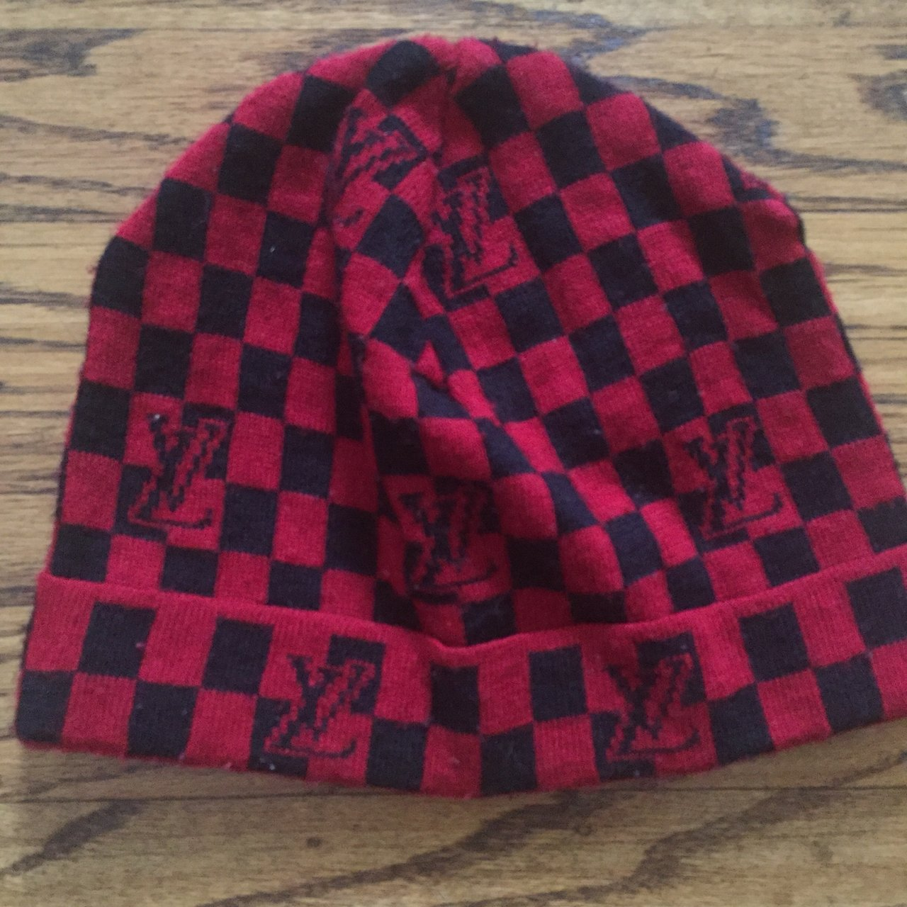 Checkered Louis Vuitton Beanie Red LV Fake but still looks - Depop 8855e4dbcaf
