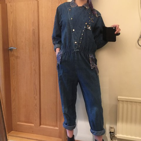 ab8af8b47ea Amazing true vintage 80 s denim jumpsuit with stud and print - Depop