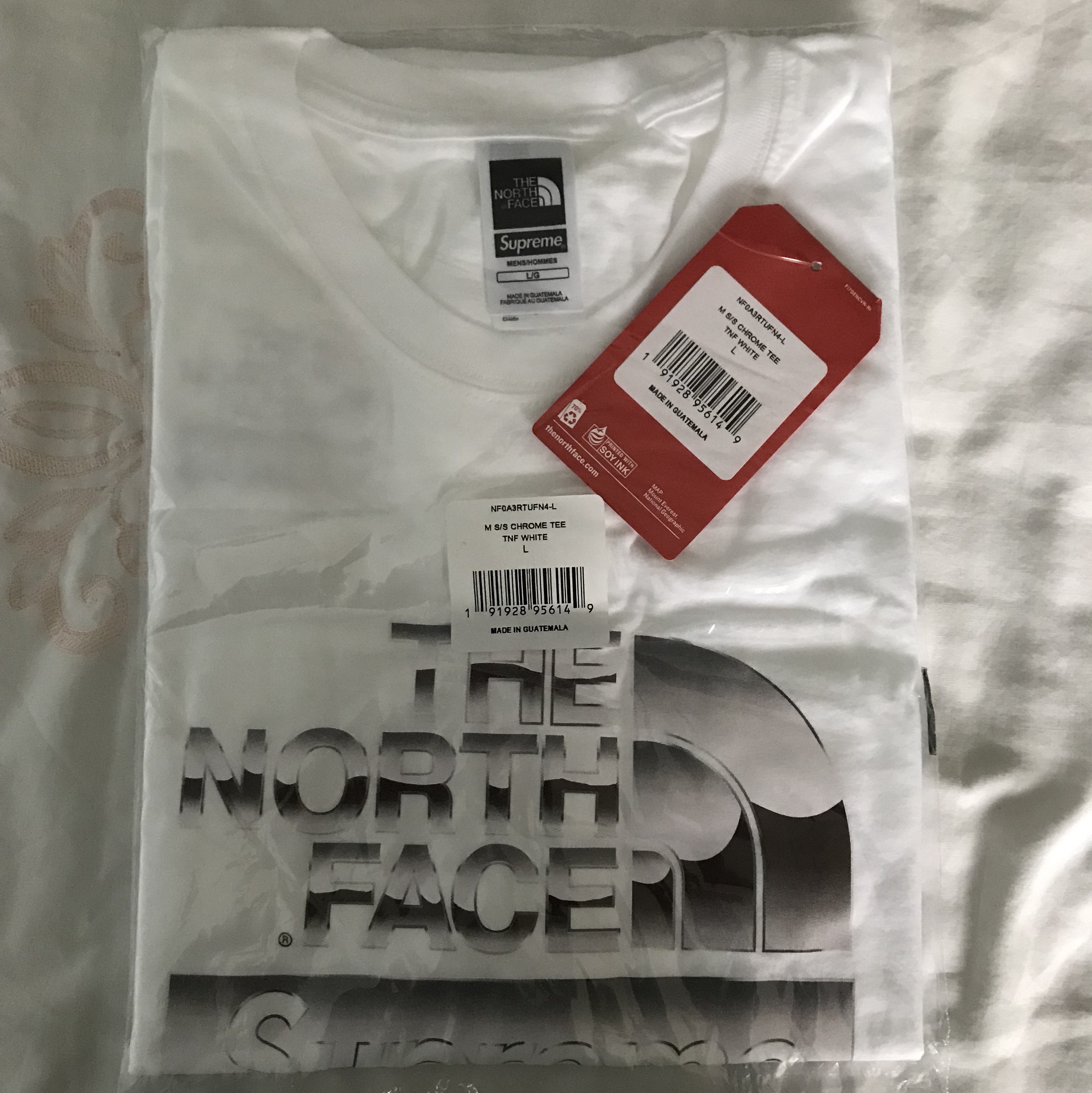 c8c95f87b Supreme x The North Face Metallic Logo T-Shirt Size... - Depop