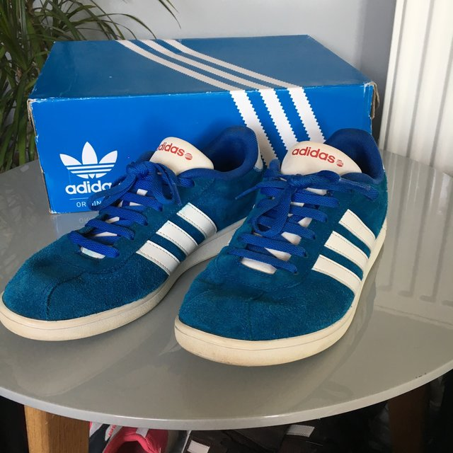 MENS BLUE ADIDAS NEO TRAINERS. SIZE 8. Please... - Depop