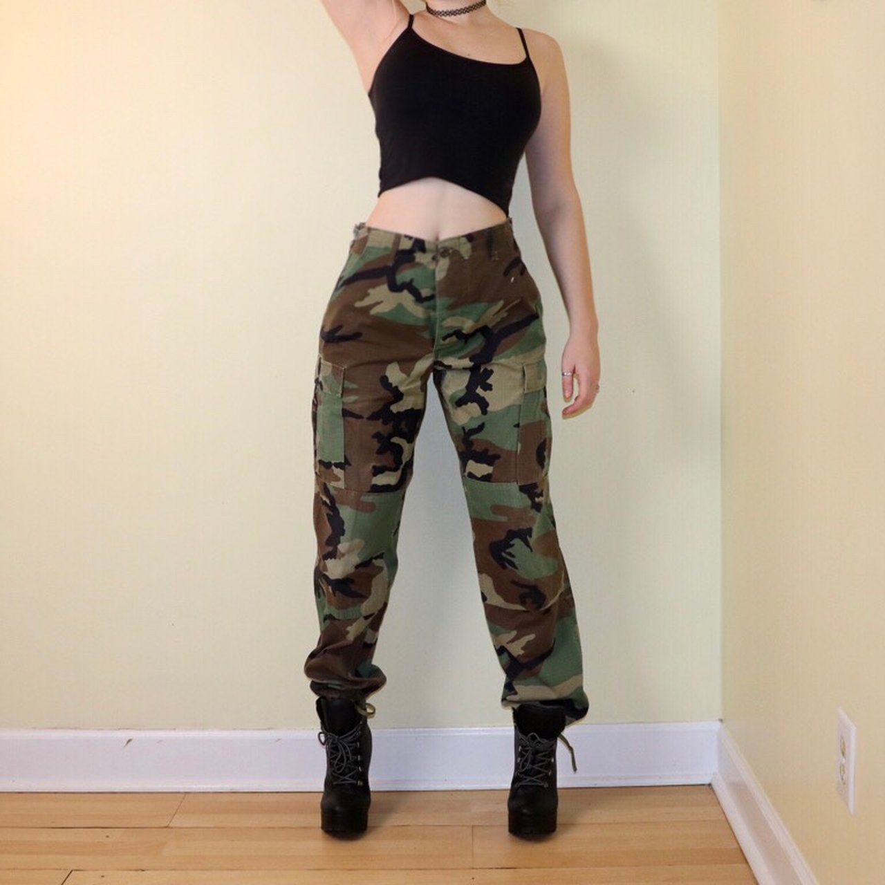 Green army pants. Authentic army pants. Marked a size small. - Depop 3fd2cc735e9