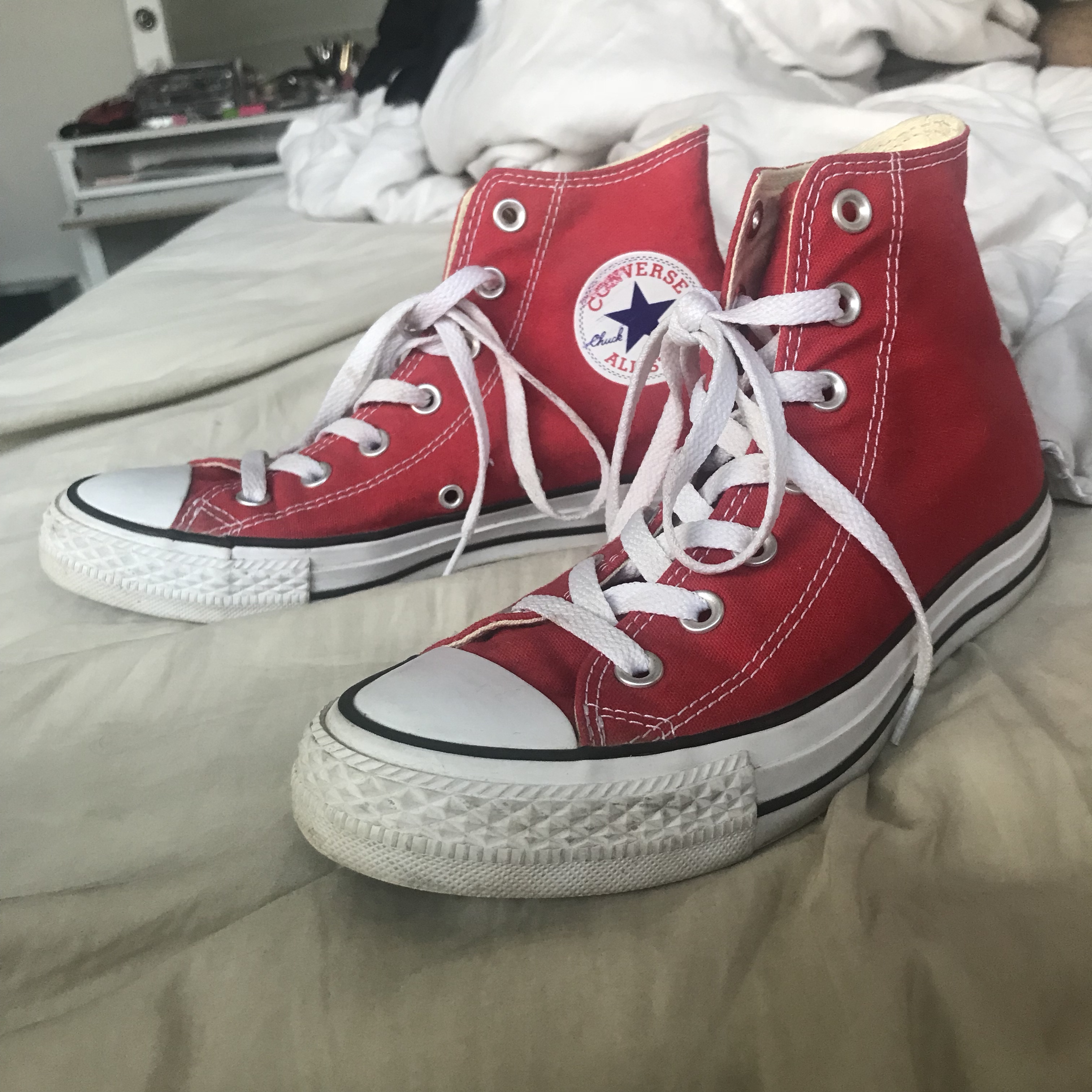 Classic red high top converse in 810 condition. Depop