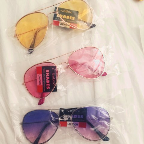 72c4439b3d yellow pink purple tinted aviator style sunglasses brand Y2K - Depop