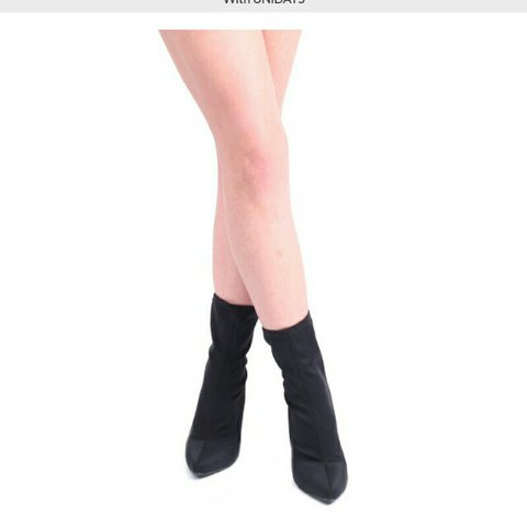 d336aacbe586 Yeezy style tight black boots with a block heel size 5