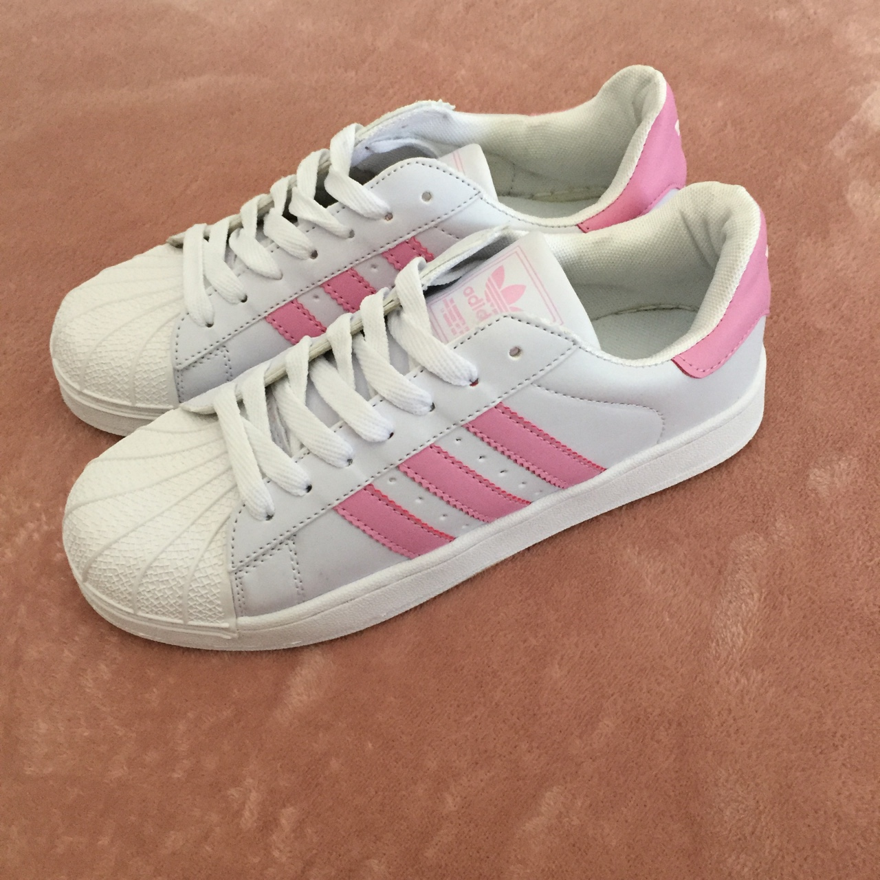 FAKE adidas originals with baby pink details ?? HOW Depop