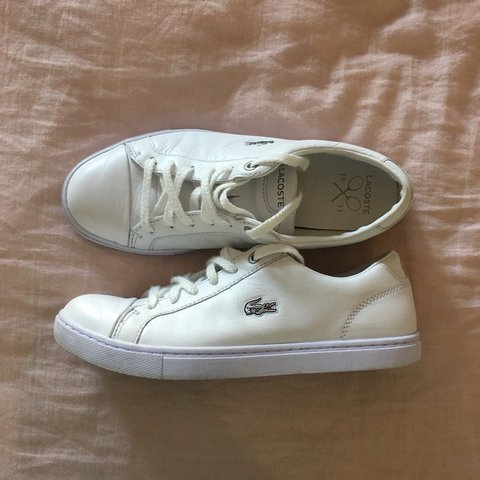 3f286bf8703b lacoste 🐊 all white tennis shoes 🎾 in size UK 5 or AU 7. i - Depop