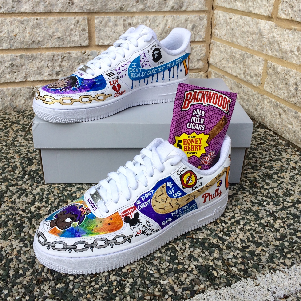 Custom Lil Uzi Vert Air Force Ones. They are painted Depop