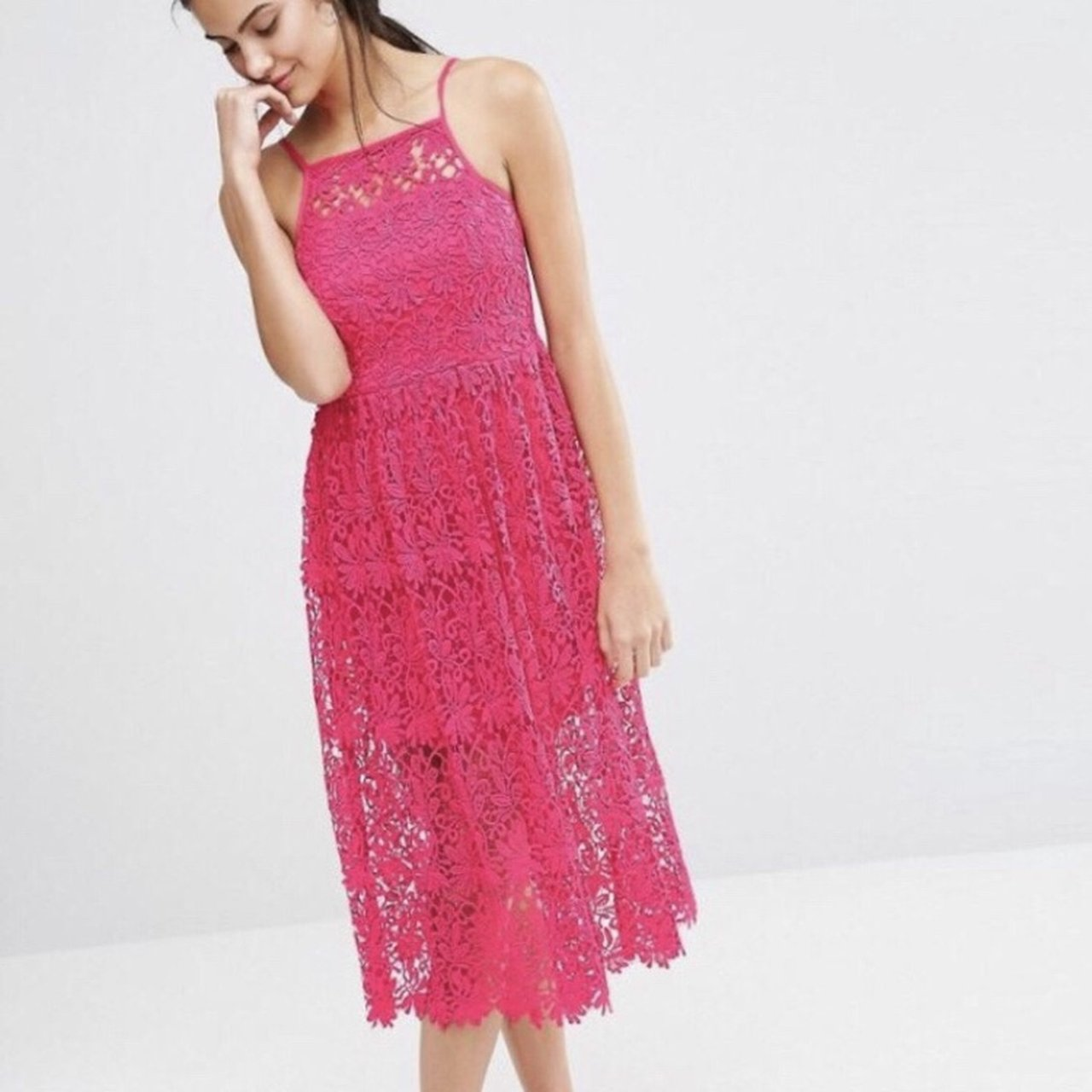 d4a161c864b7 River Island Hot Pink Lace Midi Dress Never been worn Lace 6 - Depop