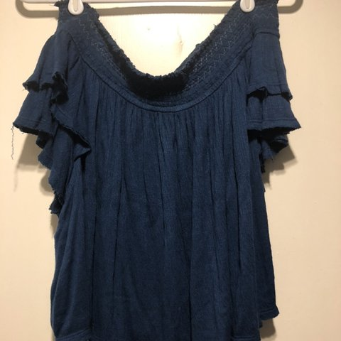 581453f82dbd57 Free People off the shoulder ruffled top. Gorgeous blue 💙 a - Depop