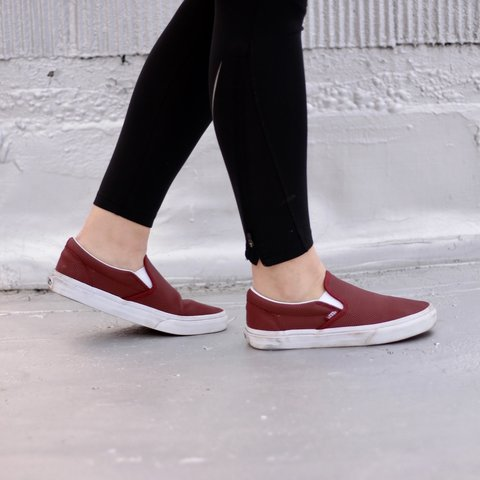9dc77bbeed  jayjaybabe. 2 years ago. United States. Perf leather classic slip-on vans  . Color burgundy.