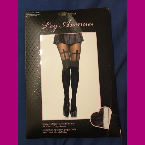 06d0c12e9686d Leg Avenue Cross thigh, tights in black. New bought in San a - Depop