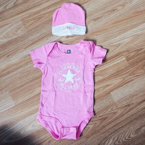 0effdb399454 NEVER WORN Converse All Star baby grow and hat set. Perfect - Depop