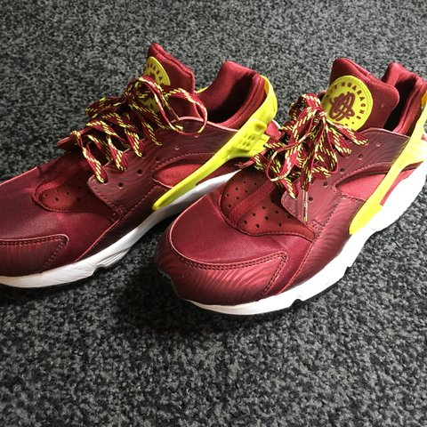 on sale f9cae 91047 Men s yellow red Nike huarache. Worn but in brilliant Size 7 - Depop