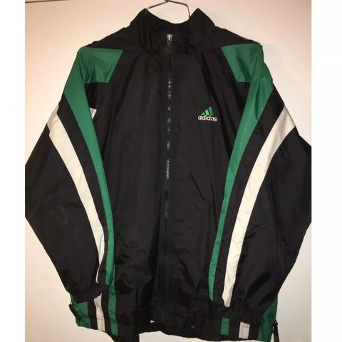 d72d5929e Vintage Adidas windbreaker jacket green black white 90s Old - Depop