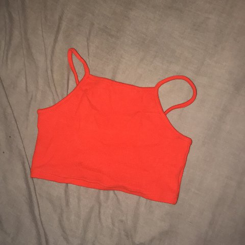 98867784f4b @avalooney. last year. Knocknagree, Ireland. Orange textured ribbed crop top  from topshop. Size 8 ...