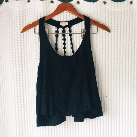 cf9b033247895d Black tank top with flower straps in the back!!! The perfect - Depop