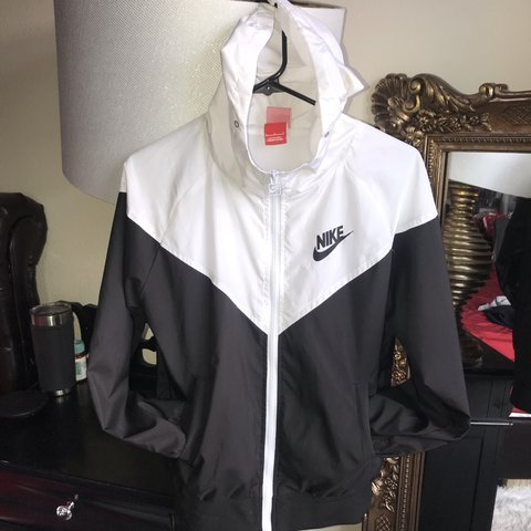 601b5e953 @lalasclosetdepop. 5 months ago. Hudson, United States. Nike windbreaker  jacket size small black and white ...