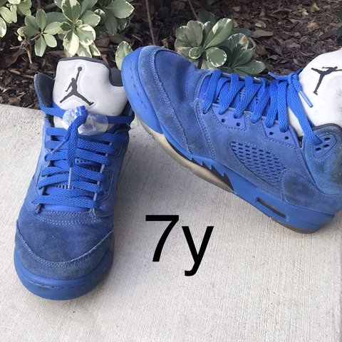 2aed2f03c98509 Youth Nike Jordan Retro 5 blue suede Good condition. Suede - Depop