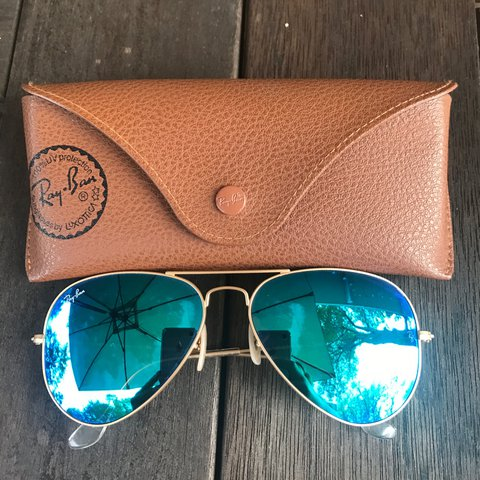 97f8294bb1 🌺 on hold for Brenda 🌺Gently worn blue reflective Ray-Ban - Depop