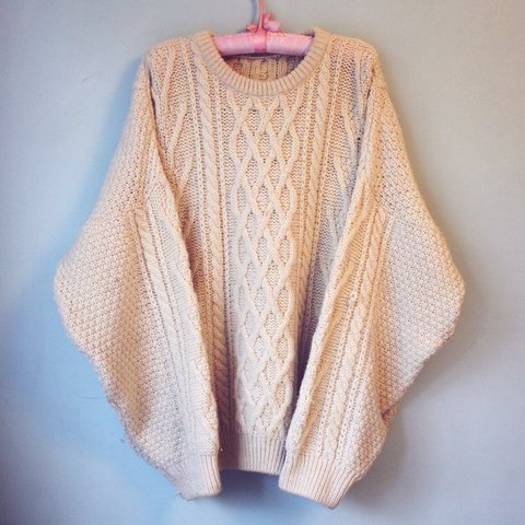 2b6da77c48f Oversized vintage cable knit chunky cream jumper No size but - Depop