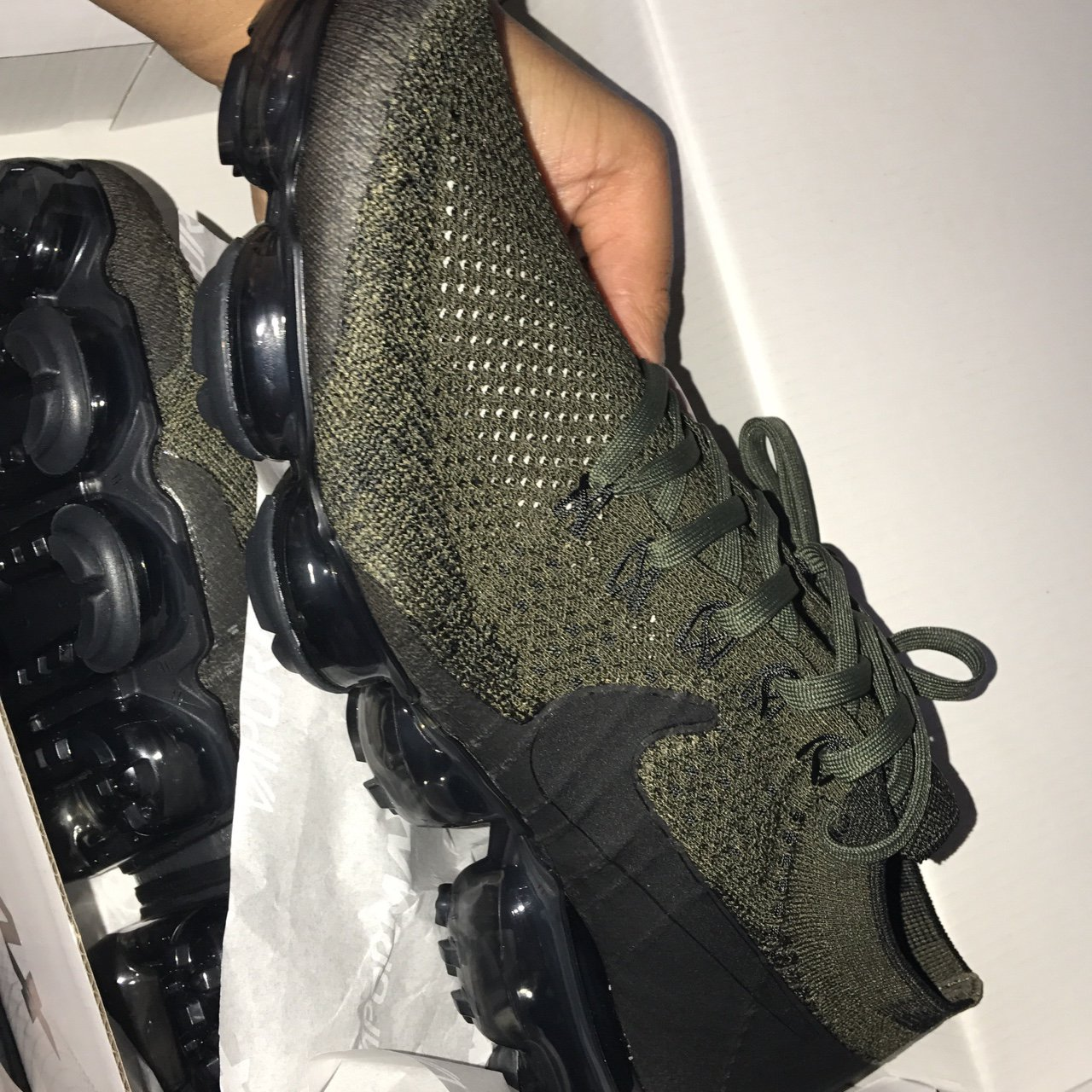 316194520b @siobhandenise. 2 years ago. Manchester, United Kingdom. Men's size 9 Nike  air vapormax flyknit cargo khaki/black-medium olive. Brand new ...