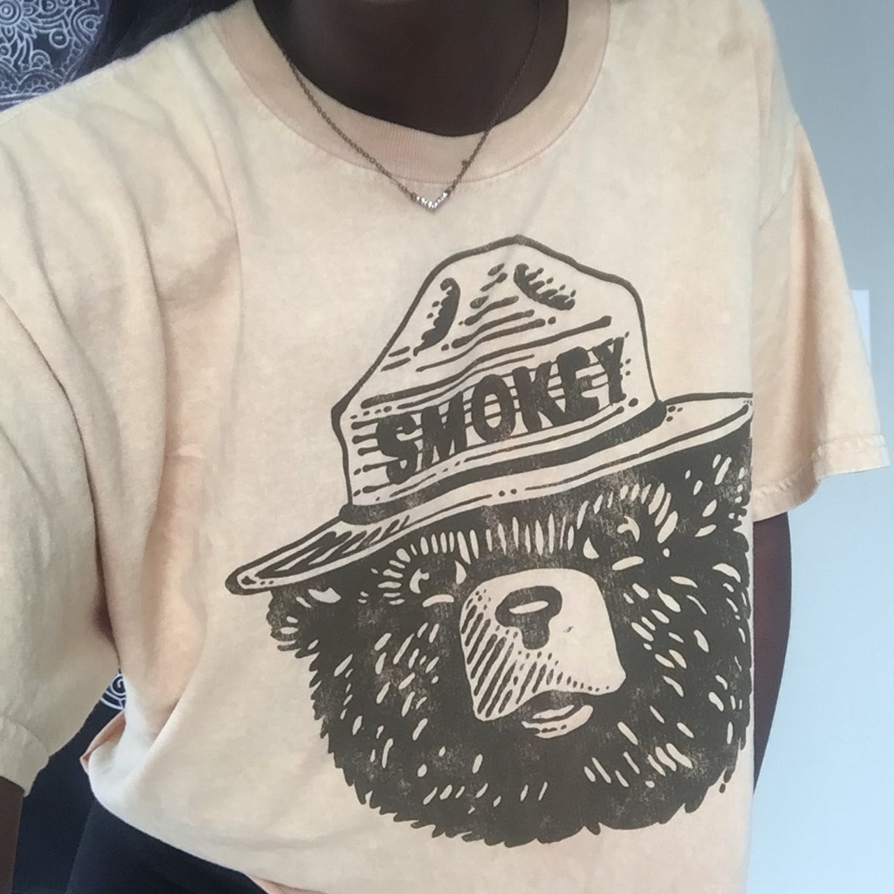 Smokey the bear crop tee...size large ..cute for an look be - Depop 83a64639719f