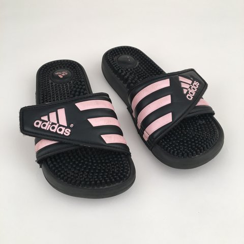 42883cbe7 ON HOLD please do not buy!! Black and pink Adidas slides! I - Depop