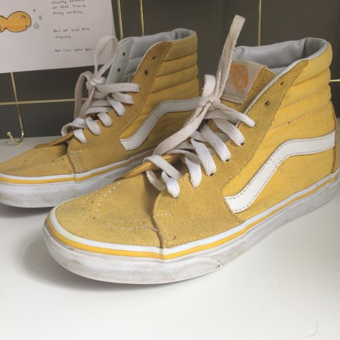 218bf40b700 Sk8-hi yellow vans Size 3•5 but would a 4 Really good - Depop