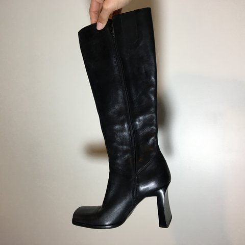 e5a8f4384bf Vintage black leather knee high boots with square toe and - Depop