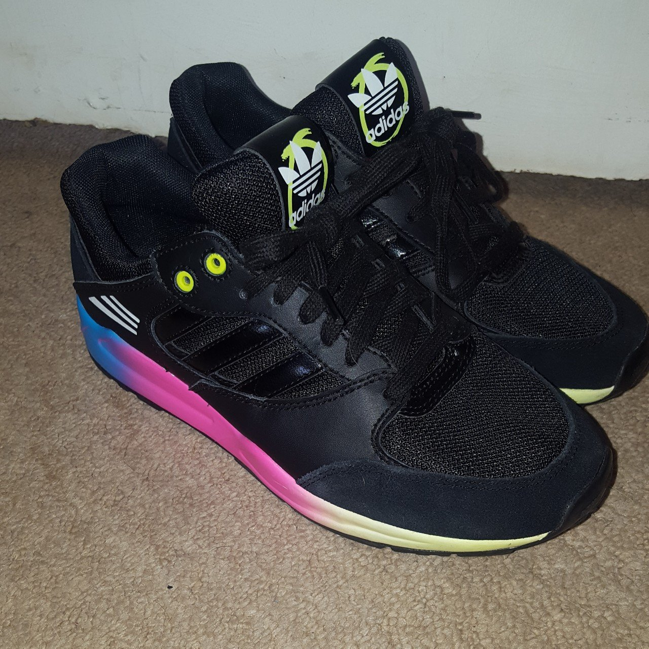 black and multi coloured Adidas trainers in size UK 4.5 only - Depop cd9a3ec1a