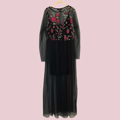 7090ce05410 Forever 21 Plus Size Black Sheer Maxi Dress with Floral New- - Depop