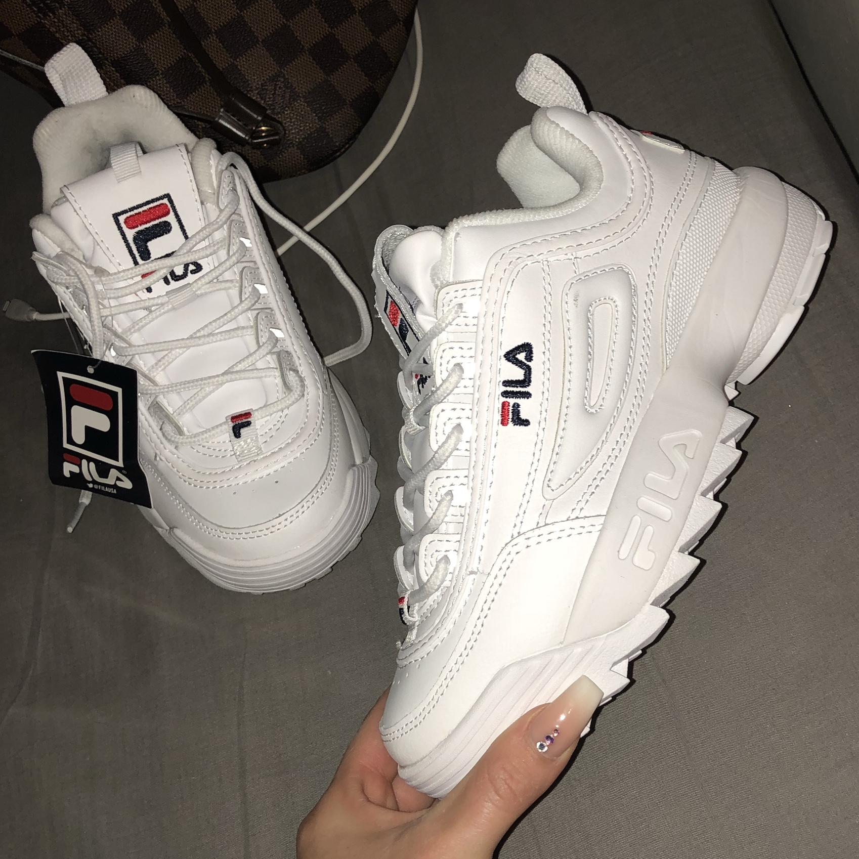 Fila disruptor li white leather trainers brand new Depop