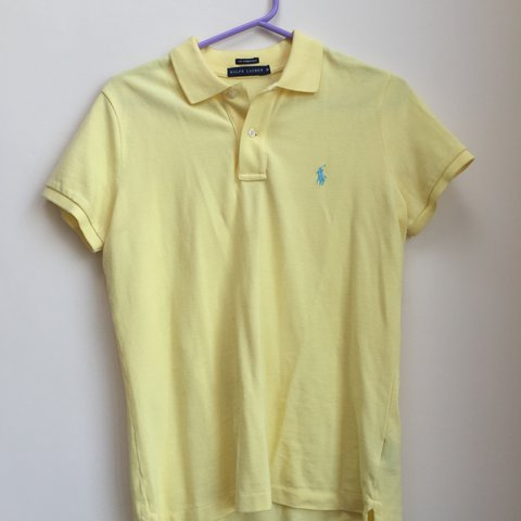0a4a796b 100% authentic Ralph Lauren polo t- shirt. Yellow with baby - Depop