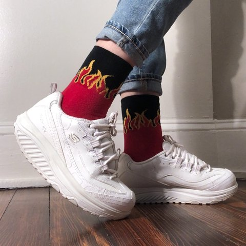 97cc4835f5 @elliotcadence. 4 months ago. Lawrence, United States. Retro white Skechers  Shape-Ups 🔥 Super fly 90s-style platform sneakers in ...
