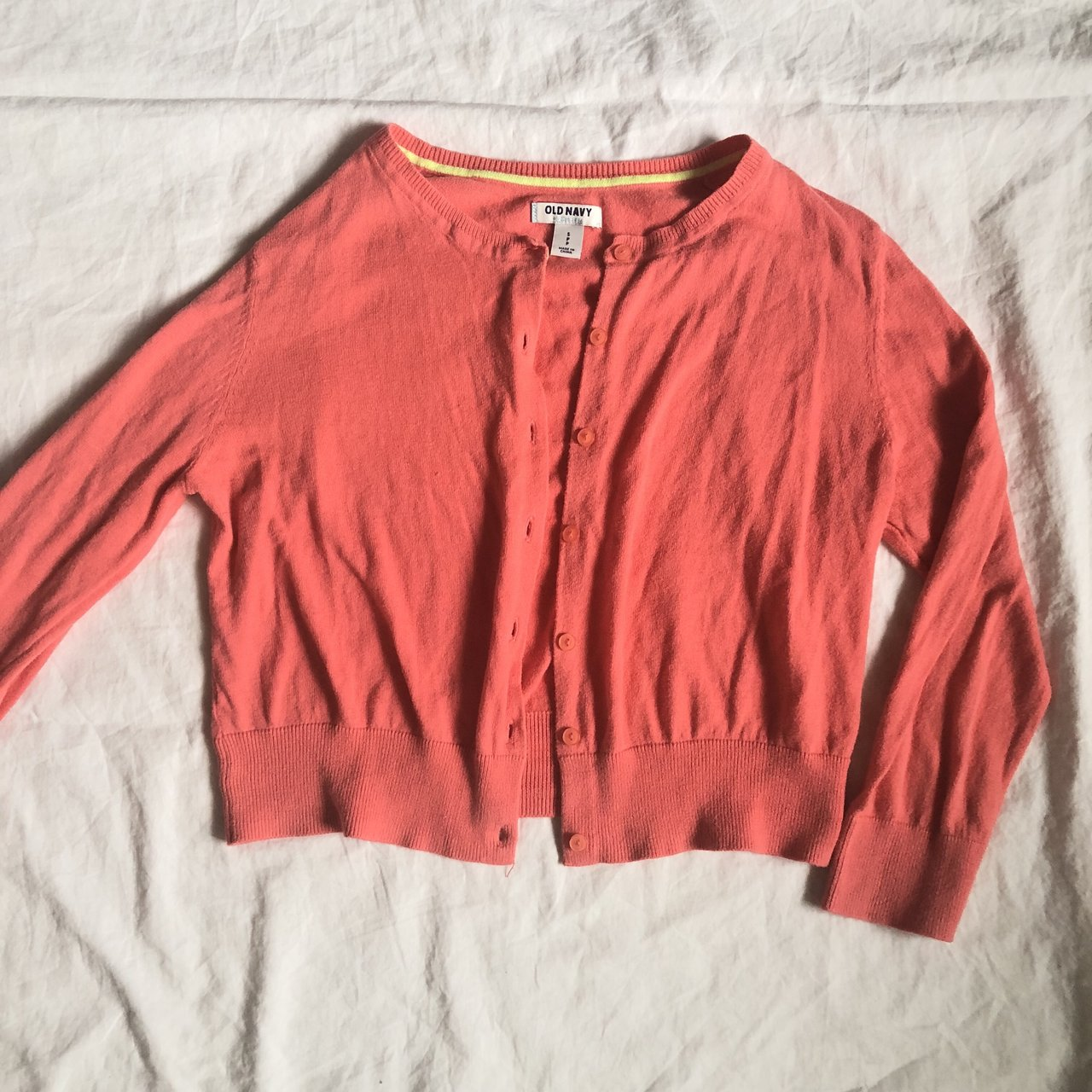 20e753da5e Adorable coral Old Navy cropped cardigan  cutest retro and - Depop