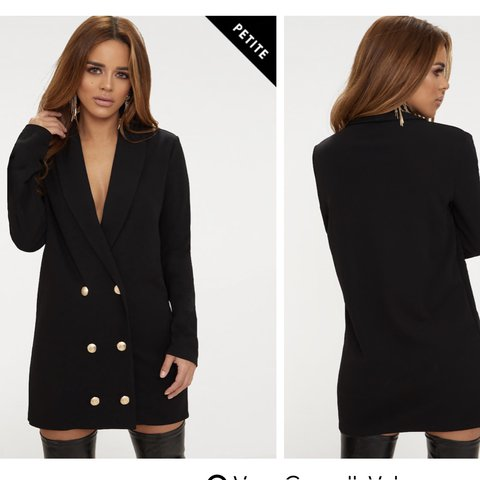 8ef4235a2ae0 @anniebx. 2 months ago. London, United Kingdom. Petite black gold button  oversized blazer dress ...