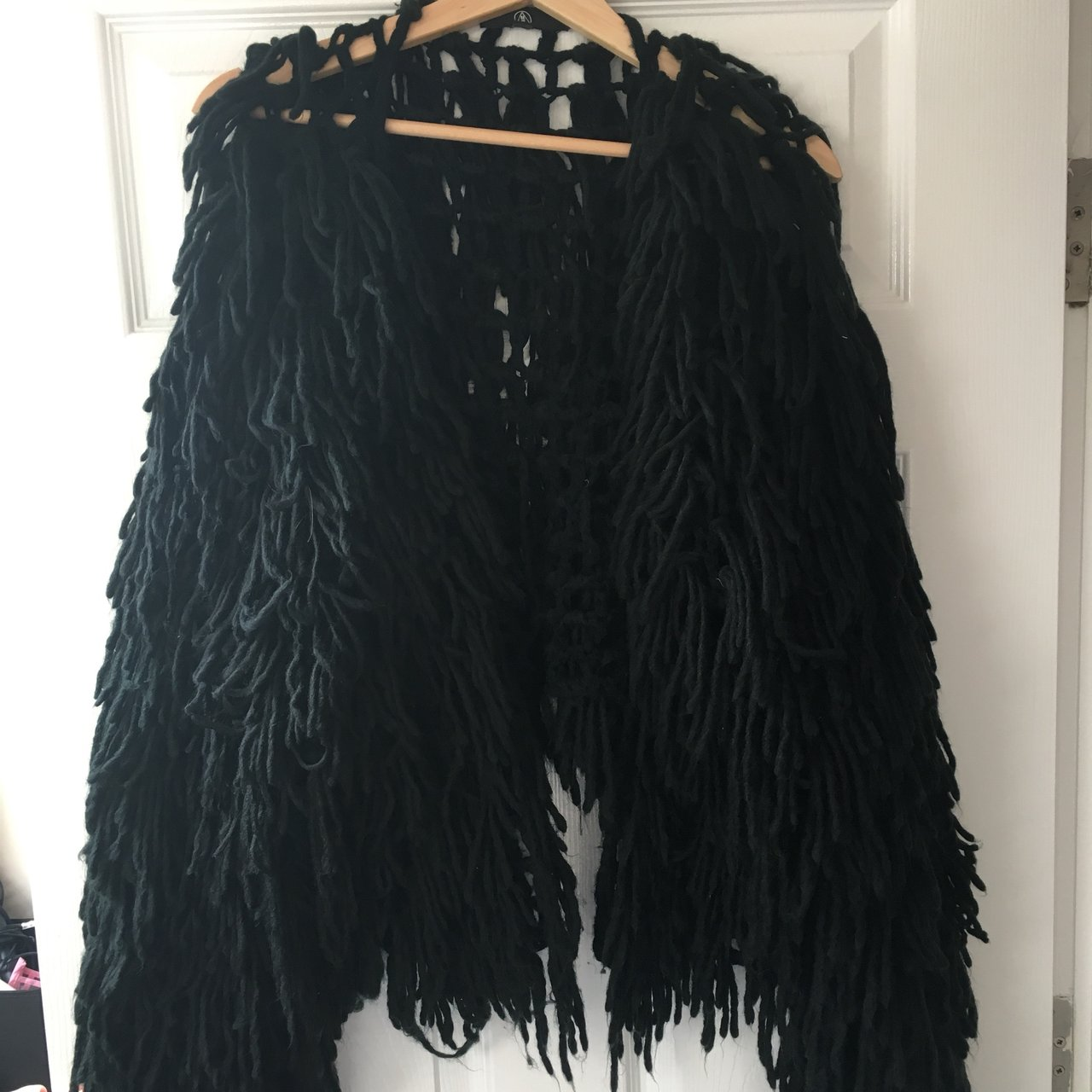 db75f3527 Black shaggy crop knitted cardigan Missguided size M. for to - Depop