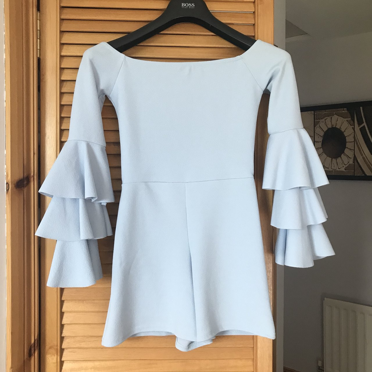 ae02a3b07276 Pale Blue Frill Layer Bardot Playsuit (off the shoulder) - - Depop