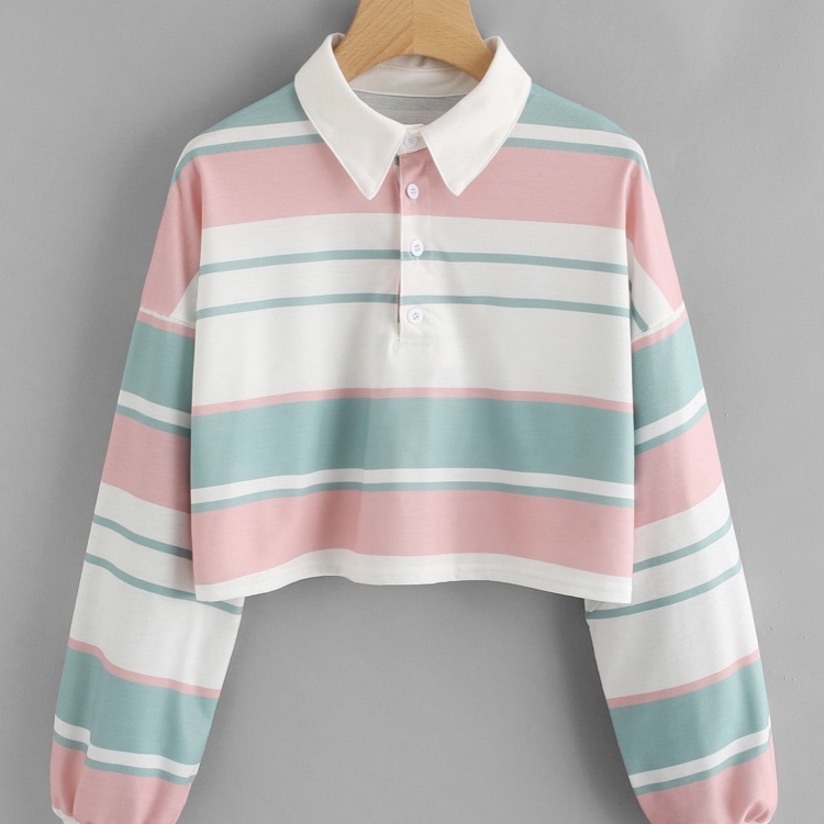 Pastel Cropped Rugby Shirt Pink White Green Depop