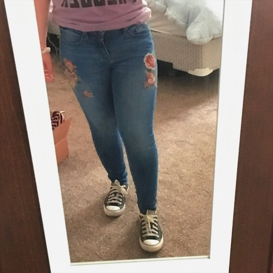 Ana Rose a.n.a rose embroidered jeans labeled as a size 6 - depop