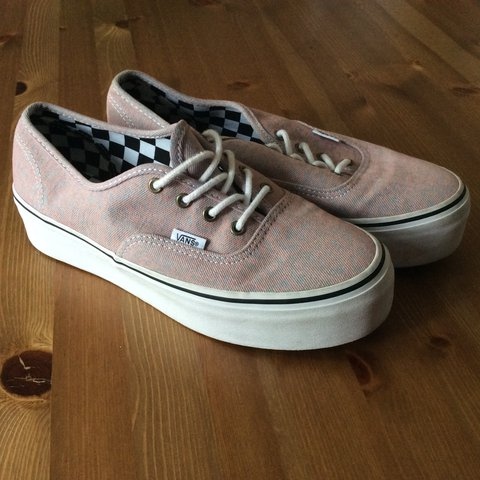 de9ebe8dd6 VANS Authentic Washed Denim Platform Sneaker in Pink. U.K. I - Depop
