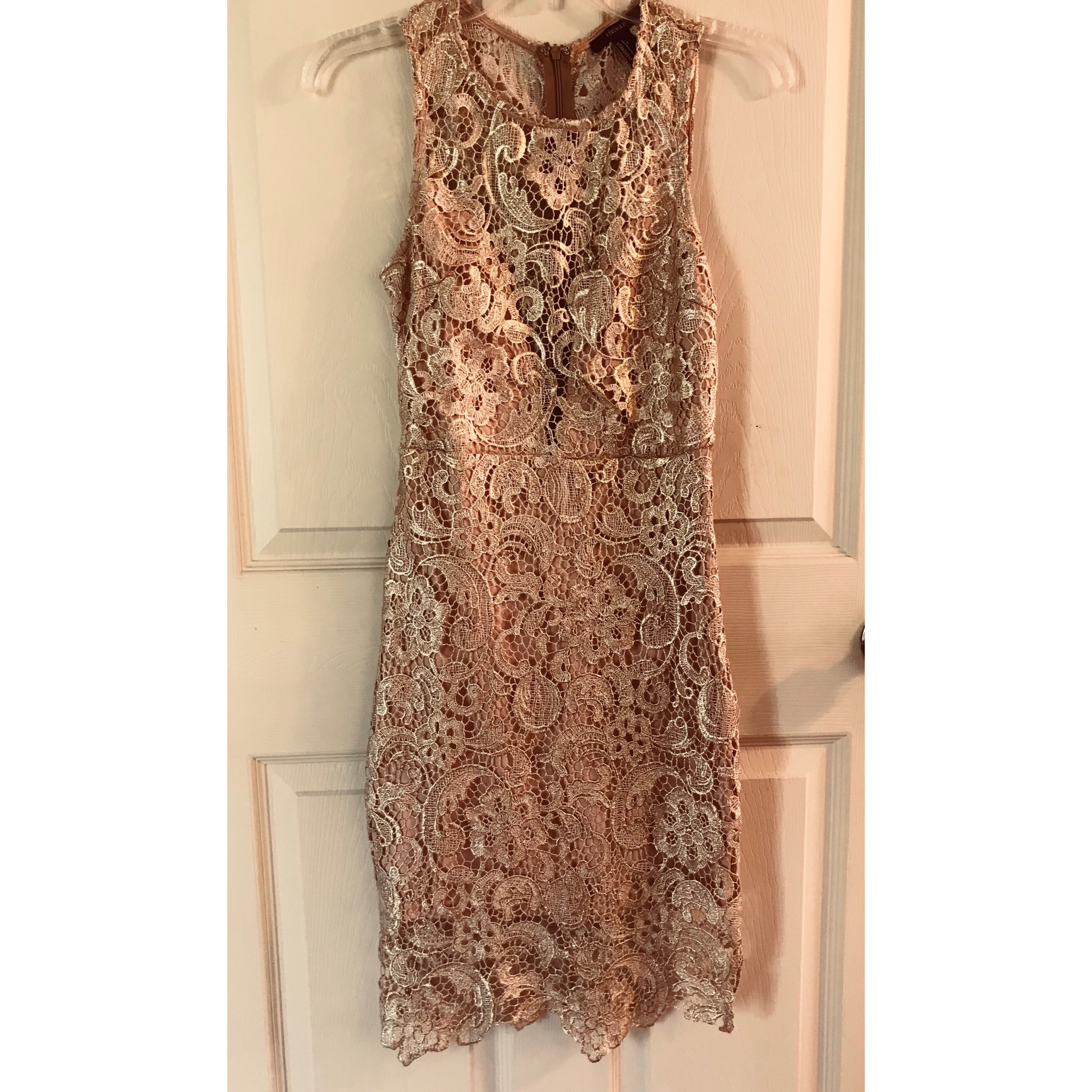 06ed35e17dcc @cavila12. last year. Weslaco, United States. This is a Forever 21 Gold  metallic floral bodycon dress ...