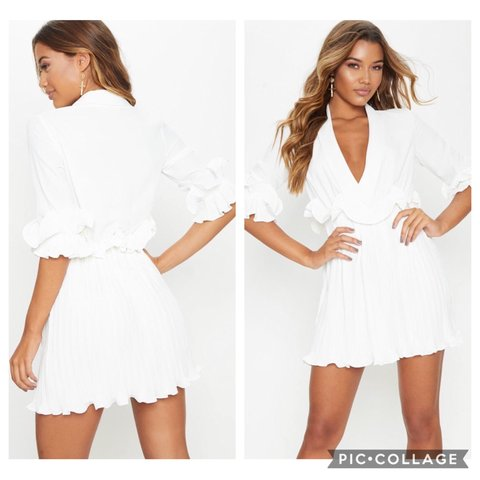 53ca340008a PLT White Frill Detail Pleated Skater Dress Size 8 Worn once - Depop