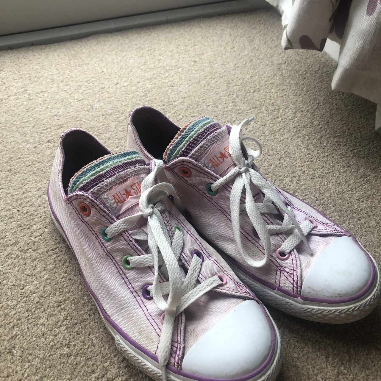 oveja cheque autobús  Baby pink Converse with multi-coloured tongue Size 4... - Depop