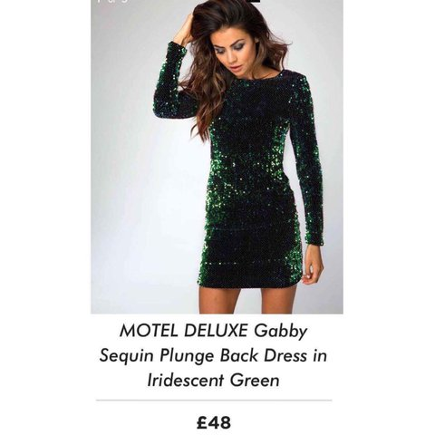 84ab19f95b ✨ Motel deluxe gabby sequin plunge back dress in iridescent - Depop